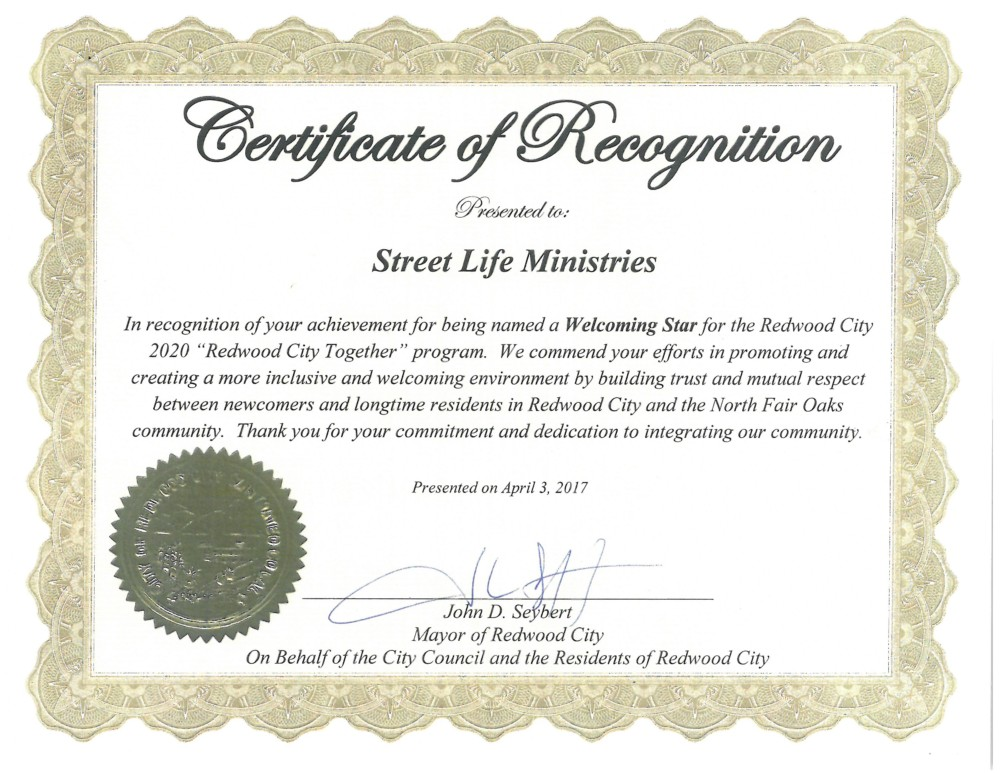 Redwood City Recognizes Street Life Ministry